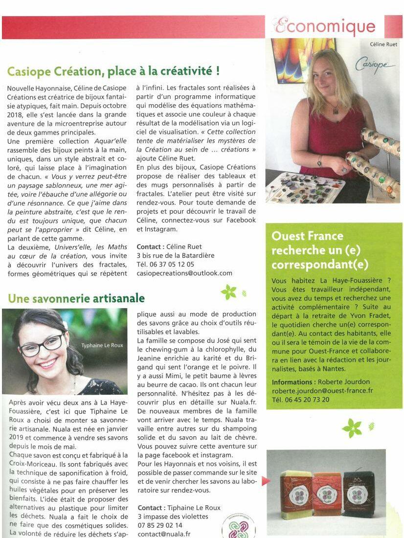 Article magazine de la Haye Fouassière sur Casiope Créations