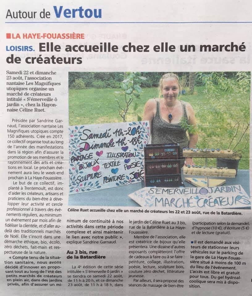 Article de presse Hebdo Sèvre et Maine, salon LMU 2020