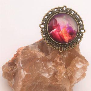 Bague ronde peinture rose Casiope Créations