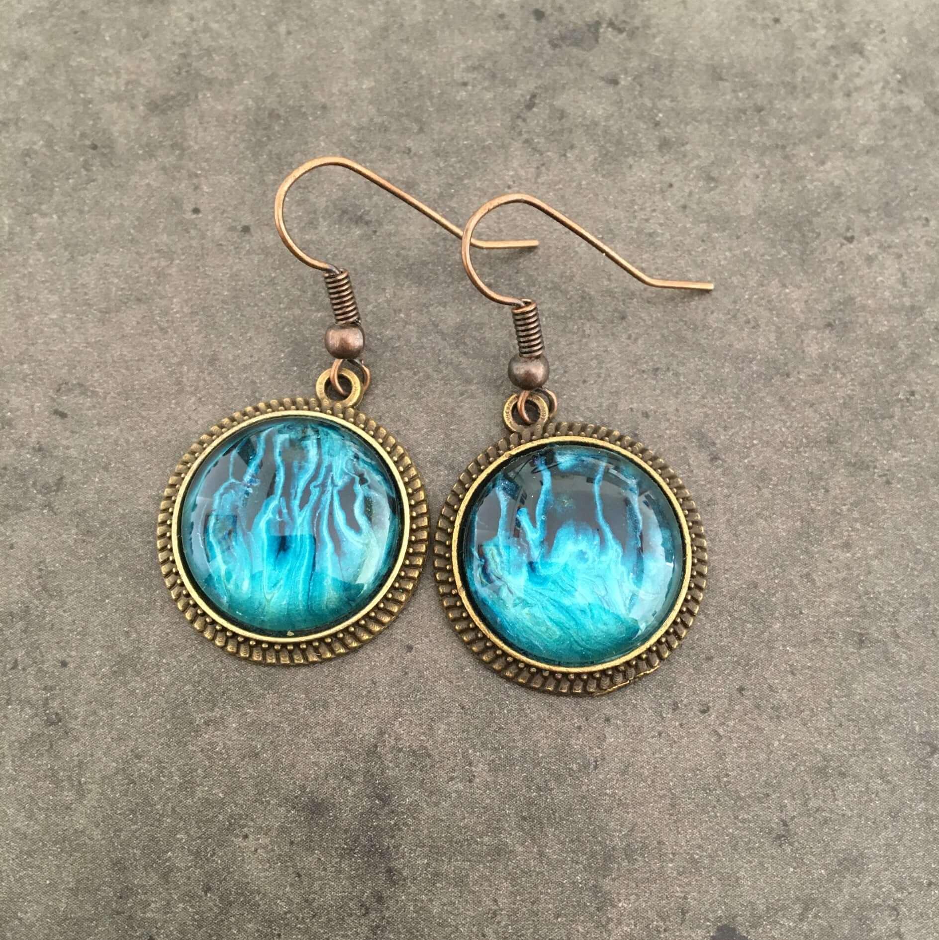 Boucles d'oreilles feu bleu par Casiope Créations