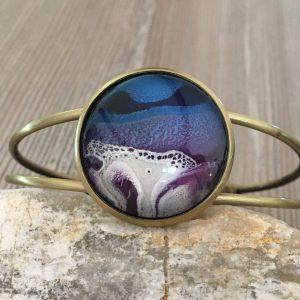 Bracelet bleu blanc et bronze Casiope Créations